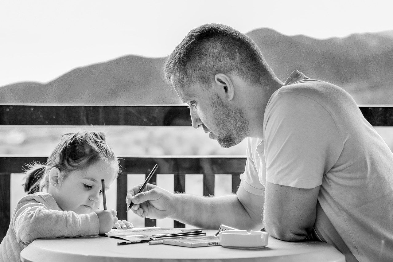 girl, father, portrait